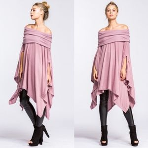 HENRY Off Shoulder Tunic Top - MAUVE